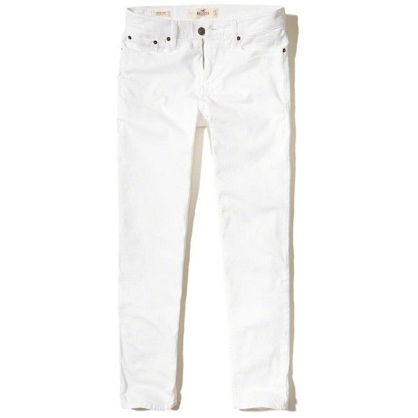 Hollister Epic Flex Athletic Skinny Jeans ($50) ❤ liked on Polyvore featuring men's fashion, men's clothing, men's jeans, white, mens stretch skinny jeans, mens embroidered jeans, mens stretch jeans, mens white skinny jeans and mens stretchy jeans