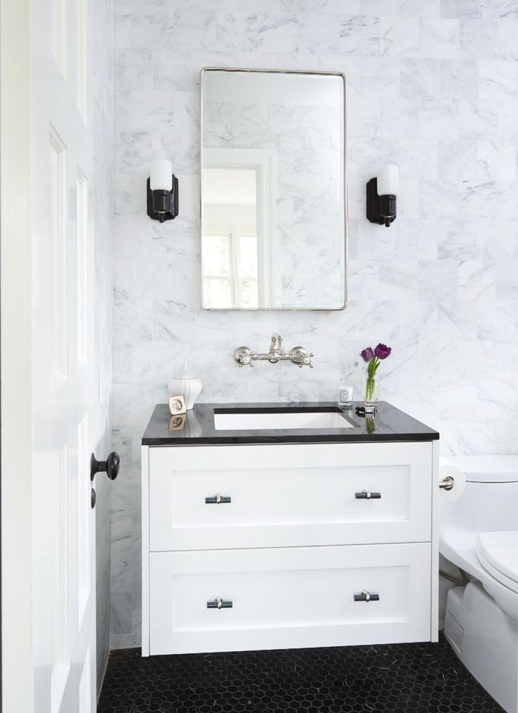 """Bathroom – Jessica Whitney Gould Interiors. Rohl faucet, Ikea """"hacked"""" vanity with Semihandmade drawer fronts, Rejuvenation sconces, Pottery Barn medicine cabinet."""