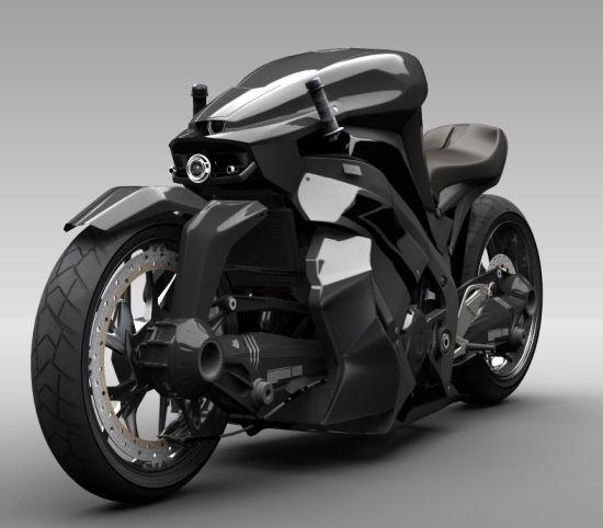 Aircraft-inspired street bike features an in helmet