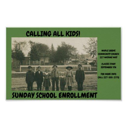 SUNDAY SCHOOL ENROLLMENT ADVERTISING POSTER FAITH - photographer gifts business diy cyo personalize unique