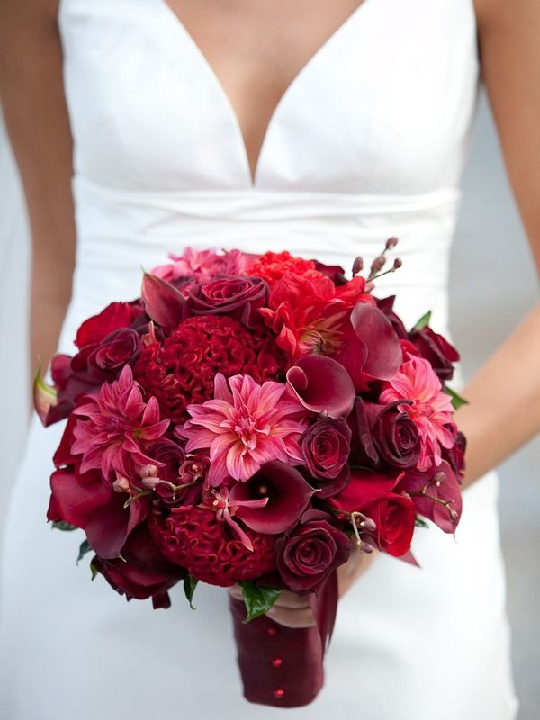 a mix of reds from cherry to burgandy make this bouquet all the more interesting!