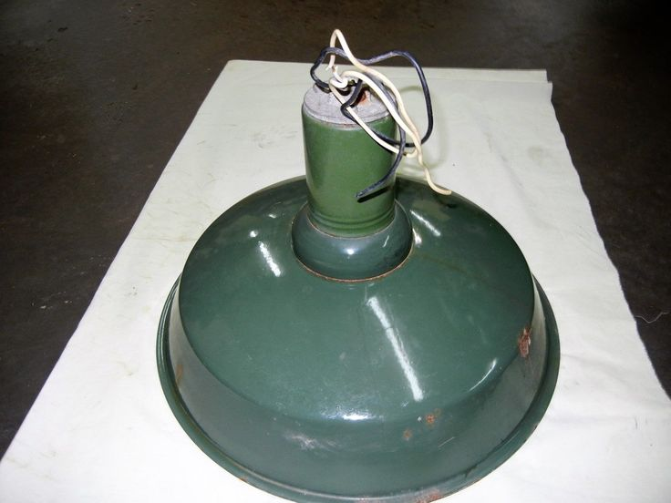 1960's Vintage Barn/gas Station/industrial Deep Dome Light Shade Green Metal