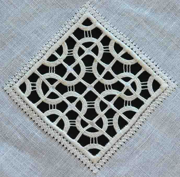 RETICELLO - Maria Del Popolo ~ this pattern 'Musica' comes from' Il Reticello Antico', Maria Del Popolo's first book, published by Terra Ferma. I embroidered my Musica on 30 count linen Permin of Copenhagen, with DMC perlé nos 8 and 12 white. It is 10.5 cm by 10.5 cm. ~ by Fils et Aiguilles... une Passion