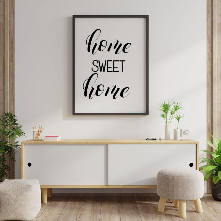 Home Sweet Home Sign Living Room Printable Wall Art Home Etsy Wall Printables Pink Wall Decor Living Room Prints