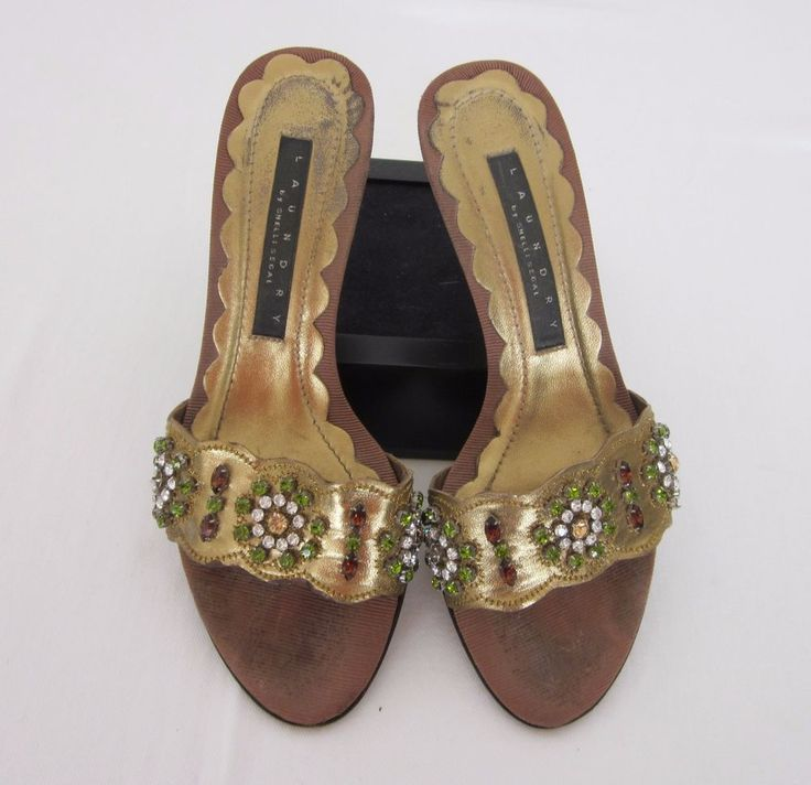 Laundry by Shelli Segal 6- 6.5 w/Kitten Heel Bejeweled Gold Sandals/Mules  EC #LaundrybyShelliSegal #Mules #SpecialOccasion $18.