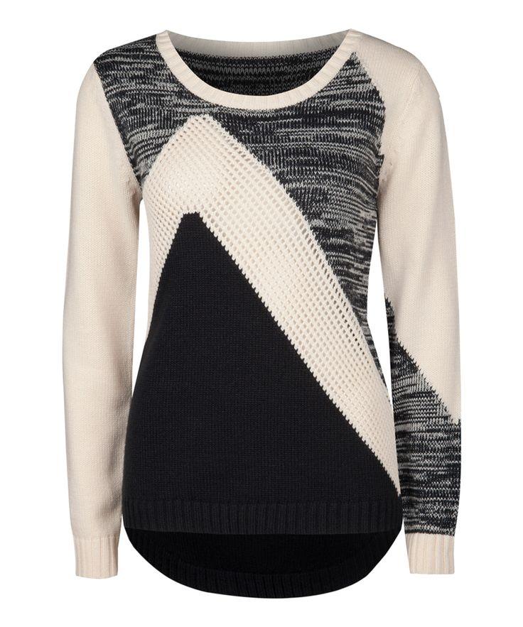 Ivory & Black Multi-Stitch Sweater