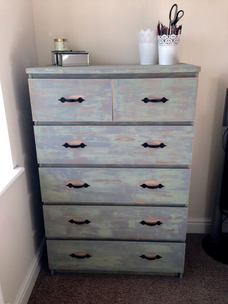 ikea malm 6 drawer unit refurbished and distressed. Black Bedroom Furniture Sets. Home Design Ideas