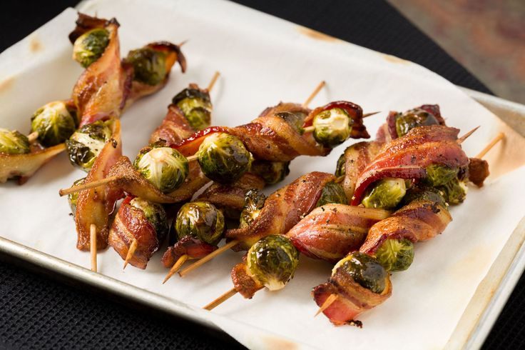 HUGE hit with my 11yo! Super easy and very tasty! Bacon-Brussels Sprout Skewers  - Delish.com