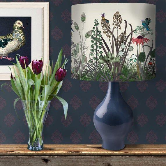 Floral Lampshade Wildflower Bloom Designer Lamp Shade Woodland