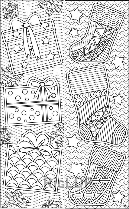 Set Of 8 Christmas Coloring Bookmarks Christmas Coloring