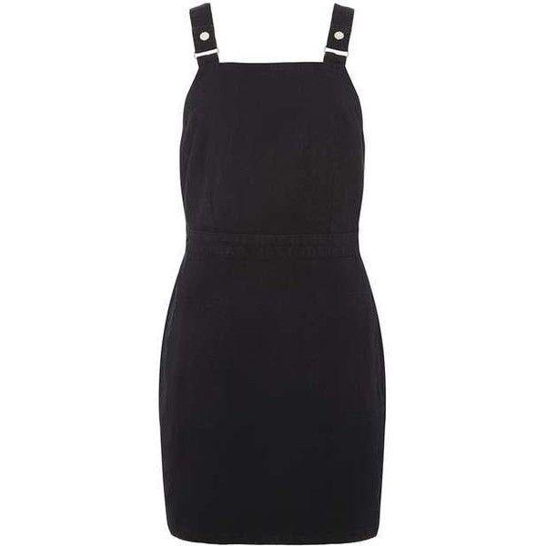 Black Clean Denim pinny Dress ❤ liked on Polyvore featuring dresses, denim pinafore dress, denim dress, pinny dress, dorothy perkins and dorothy perkins dress