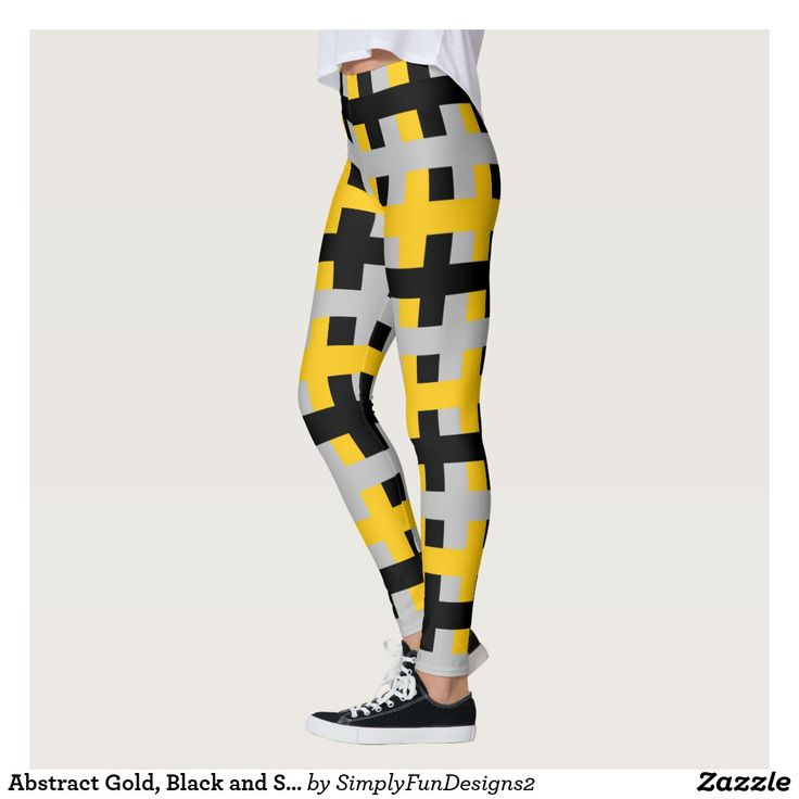 Abstract Gold, Black and Silver Leggings