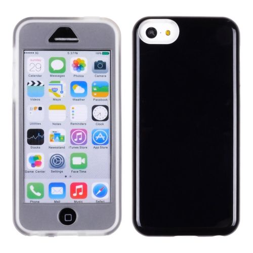 Apple iPhone 5C - Clear TPU Skin with Leather Honey Black Hardcover