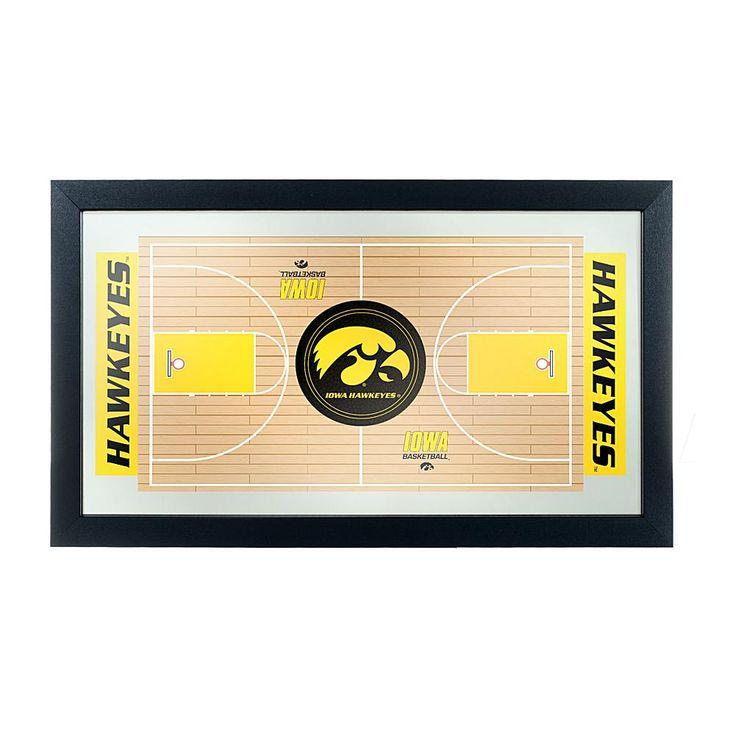 Football Fan Shop NCAA Framed Basketball Court Mirror - University of Iowa
