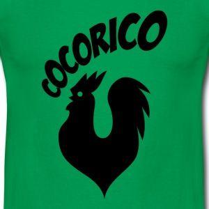 T shirt vert homme Humour Cocorico le coq français chante N - Tee shirt Homme