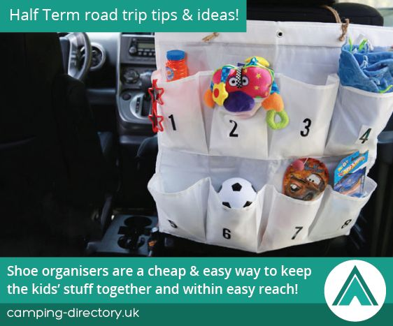 Shoe organisers are a cheap and easy way to keep the kids' stuff together and within easy reach. Half Term. Autumn. Holiday. Travel. UK. Ireland. Camping Tips. Road Trip.