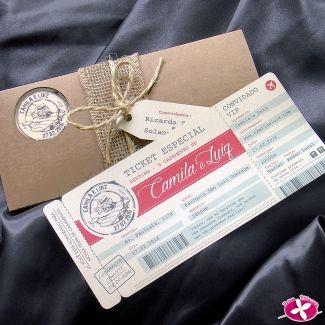 Convite de Casamento Rústico Modelo Passport, que imita um ticket de viagem da Rosa Pittanga. www.rosapittanga.com.br #convite #convitecasamento