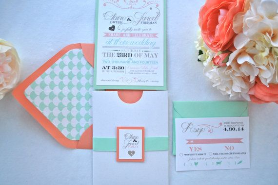 Rustic modern chic Mint and Coral Pocket by OuttheBoxCreative, $4.50