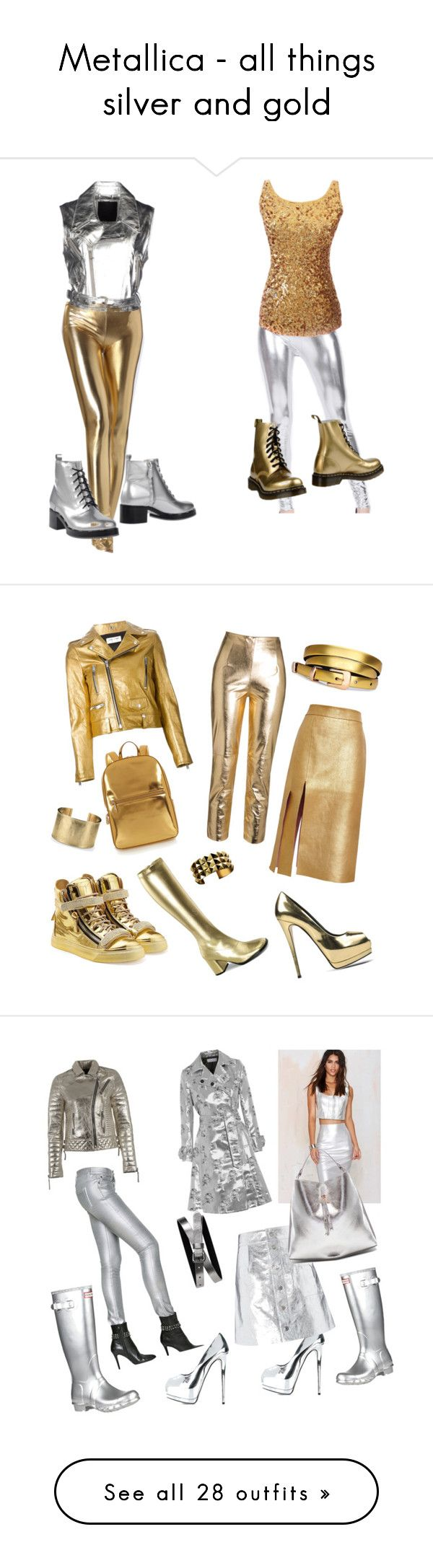 """Metallica - all things silver and gold"" by leatherboy ❤ liked on Polyvore featuring Philipp Plein, Dr. Martens, Pollini, Giuseppe Zanotti, Nina Ricci, Yves Saint Laurent, DKNY, Blue Nile, J.O.A. and Coperni Femme"