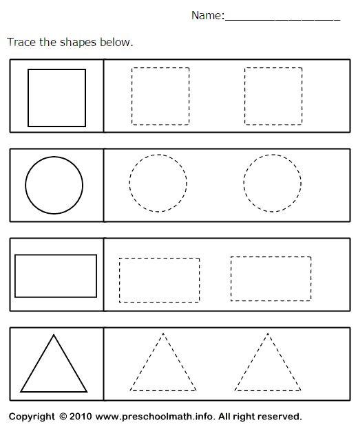 shape worksheets - Kindergarten Tracing Pages