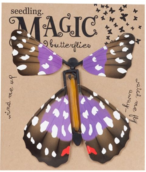 Made of lightweight paper, Seedling's Magic Butterflies use an elastic band to wind-up the tension, and then can be placed into a card, book or magazine. When the page is opened, watch the magic butterfly spring out and fly up, up and away #Seedling #stockingstuffers