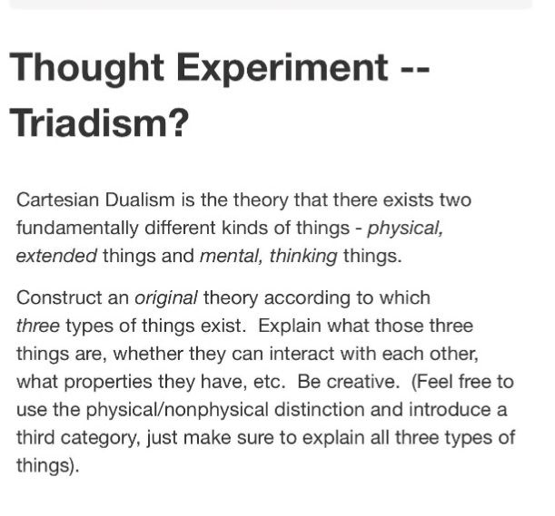 Cartesian Dualism Thought Experiment Thoughts Ideology