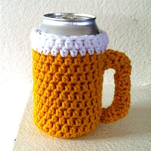 The Beer Sweater Hand Crocheted Beer Mug Cozy by YarnSchool, $16.00