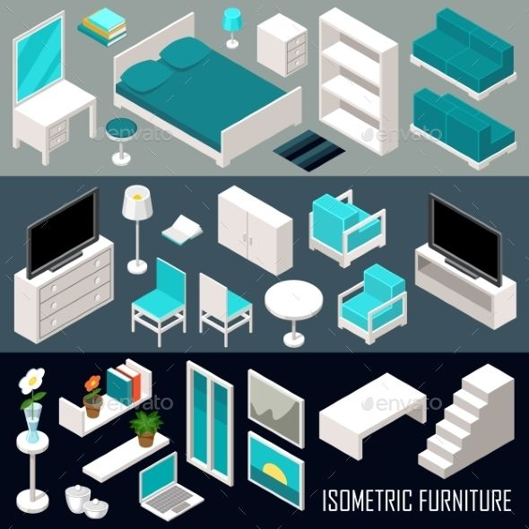 Download Free Graphicriver Isometric Furniture Set #3d #apartment #bed #bedroom #book #carpet #chair #concept #decor #design #domestic #flat #floor #furniture #home #house #illustration #indoor #inside #interior #isometric #lamp #living #lounge #modern #plan #residential #room #set #shelf
