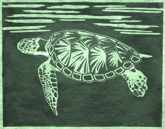 Sea Turtle In Black And Green Original Linocut Turtle