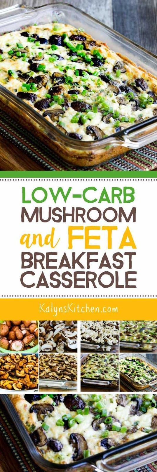 Low-Carb Mushroom and Feta Breakfast Casserole is one of my absolute FAVORITE combinations for a low-carb breakfast bake. This is perfect to make on the weekend and reheat during the week, and this recipe is also Keto, low-glycemic, gluten-free, and meatless. I make this over and over, and if you like these ingredients, it's a MUST-TRY! [found on KalynsKitchen.com] #BreakfastCasserole #LowCarbBreakfastCasserole #LowCarbMushroomFetaBreakfastCasserole #MushroomFetaBreakfastCasserole