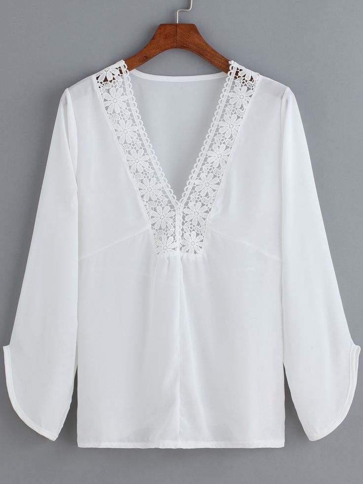 White V Neck Floral Crochet Chiffon Blouse 13.39