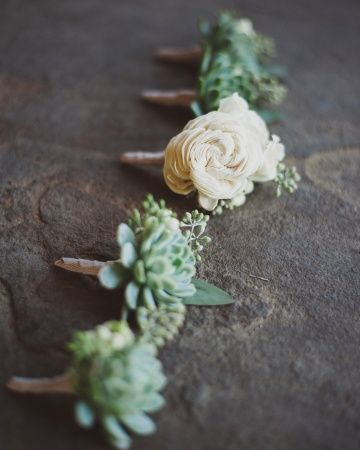 Boutonnieres The groomsmen were pinned with small succulents while Brandon matched Maggie's bouquet with mini majolica rose buds backed by seeded eucalyptus.