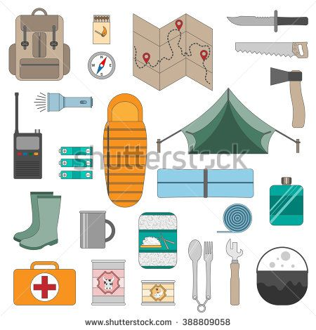 Camping Equipment Icons Set