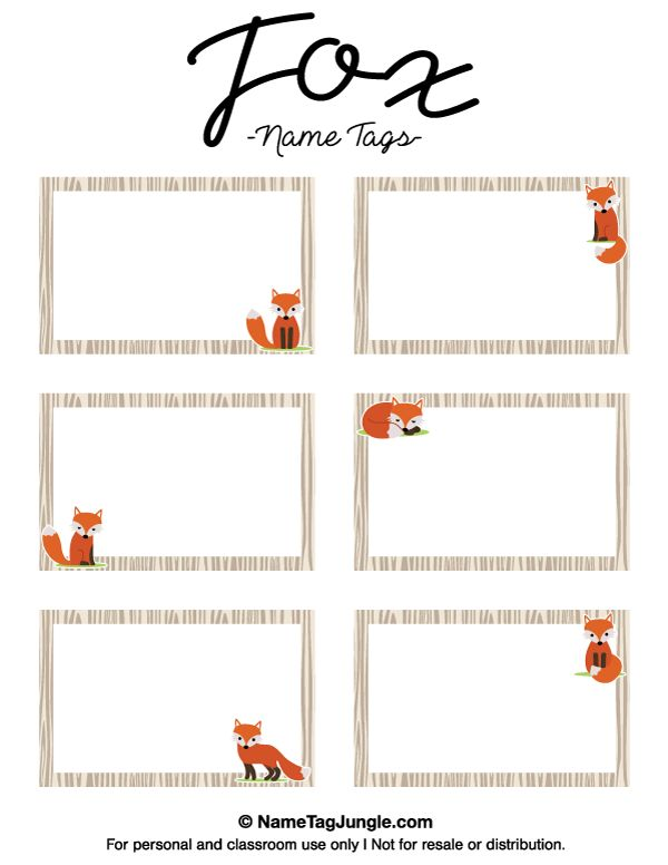 Free printable fox name tags. The template can also be used for creating items like labels and place cards. Download the PDF at http://nametagjungle.com/name-tag/fox/