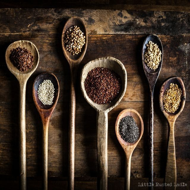 Brown | Wood spoons and grains