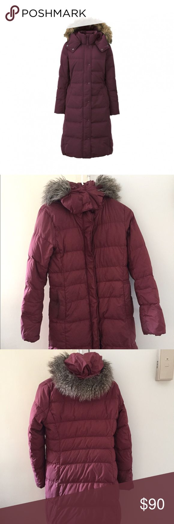 Uniqlo Ultra Warm Down coat, Maroon Down coat with fleece-lined pockets and faux-fur removable hood. Great condition - full disclosure: could use a cleaning. The cost of cleaning is deducted from the overall price. Uniqlo Jackets & Coats Puffers