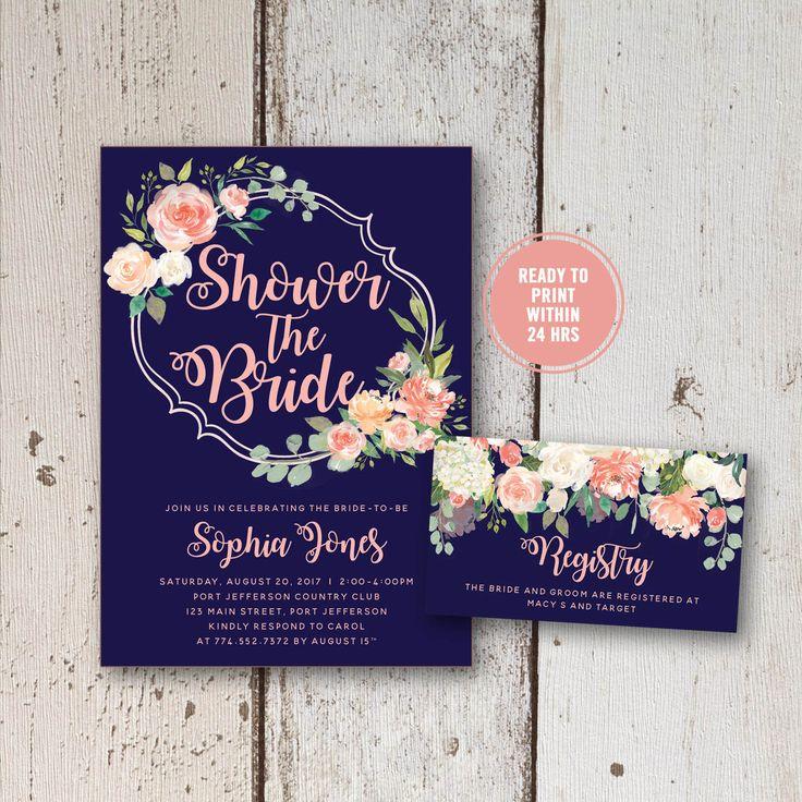 simple diy bridal shower invitations%0A Floral Bridal Shower Invitation  Printable Bridal Shower Invitation Set   Peach Bridal Shower Invitation Set
