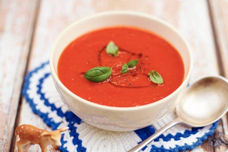 Kijk wat een lekker recept ik heb gevonden op Allerhande! Soep van tomaten en rode paprika