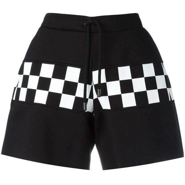 Dsquared2 Checkerboard Shorts ($490) ❤ liked on Polyvore featuring shorts, cotton shorts, checked shorts, dsquared2, drawstring shorts and draw string shorts