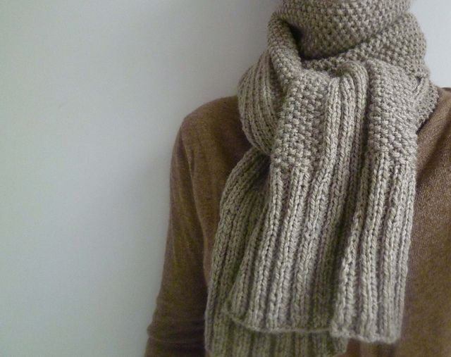Fantastic Knitted Ribbed Scarf Pattern Embellishment Easy Scarf