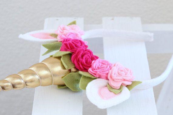 Diadema cuerno de unicornio en rosa flores por EnchantedPaisley