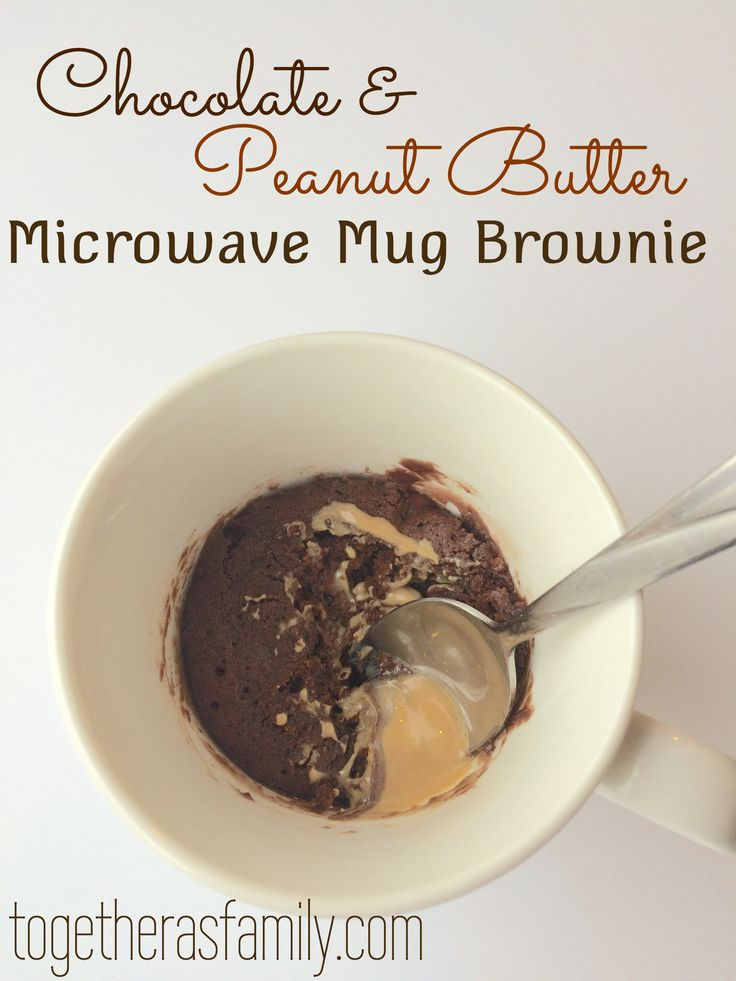 Chocolate & Peanut Butter Microwave Mug Brownie! So yummy & delicious. Perfect for when you want something sweet but don't want the whole pan!