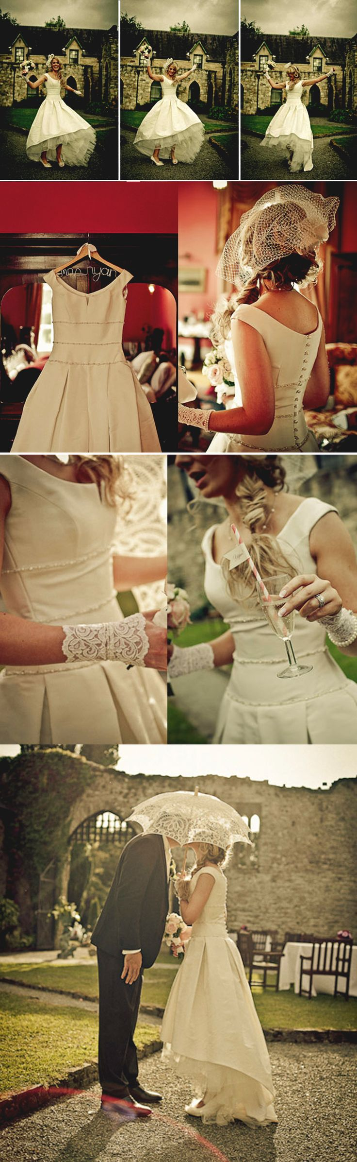 VINTAGE IVORY UNIQUE HIGH LOW ROUND NECK BEADING CHARMING BALL GOWN WEDDING DRESSES,DB098