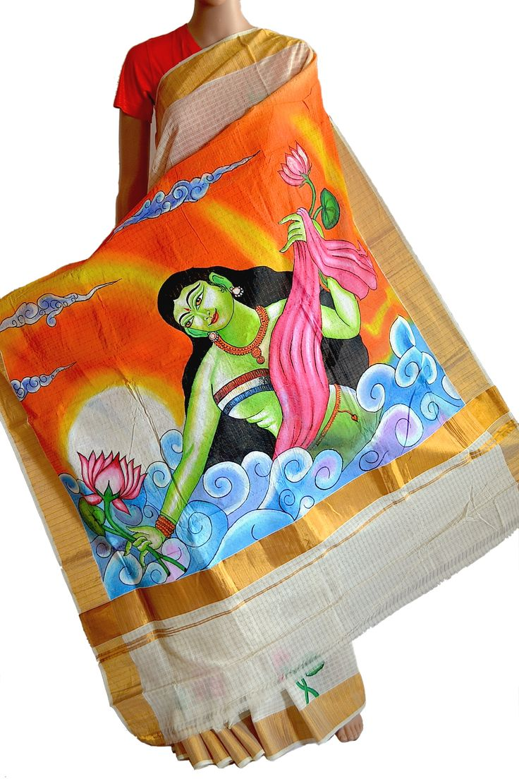 This is a classic Mural painted Kasavu Saree. Just look at the colour palette used to make a simple saree stunning and come alive with colours and life. Fabulous. (Fabrics of India - www.facebook.com/fabricsofindia2013)