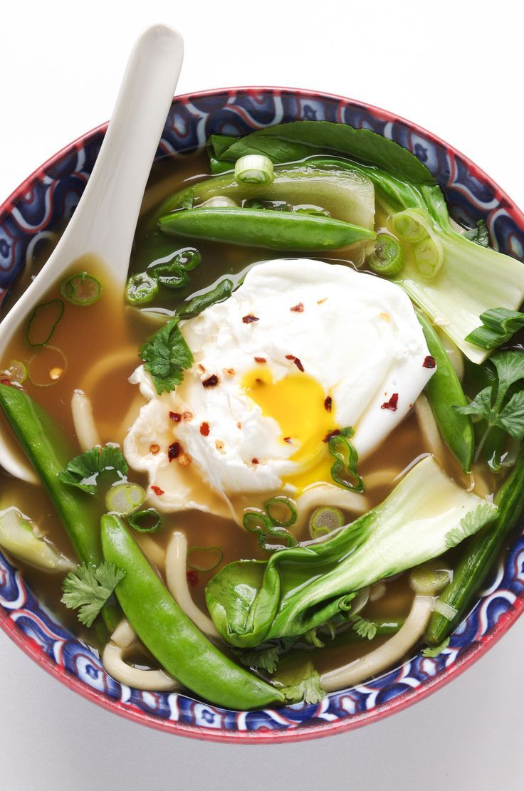 20 minute Udon Noodle Soup with Bok Choy and Poached Egg