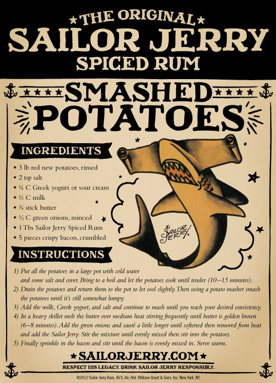 Sailor Jerry Rum Mashed Potatoes. Must Try.