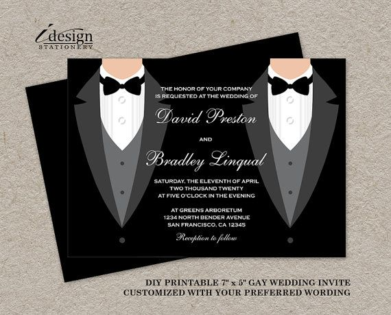 Gay Marriage Wedding Invitations: DIY Printable Tuxedo Gay Wedding Invitation By