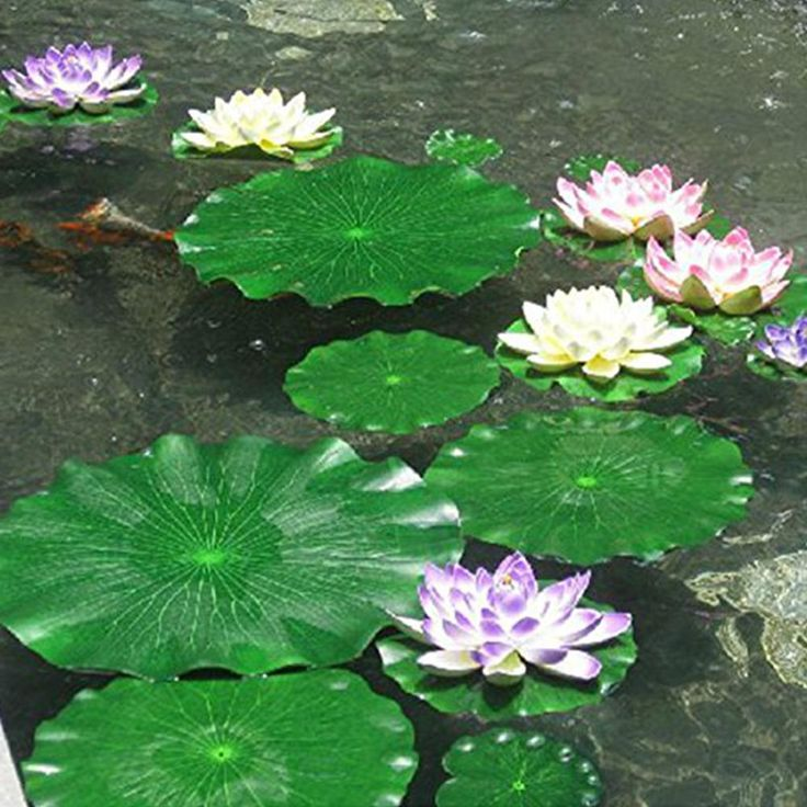 Artificial Lotus Water Lily Floating Flower Pond T…