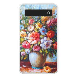 Vintage Floral Bright Country Flowers Painting Power Bank
