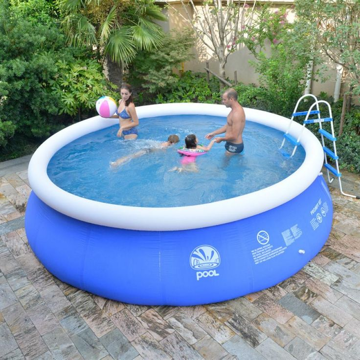 Unique rounded plastic garden pool for family